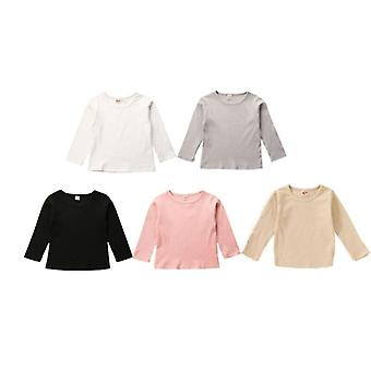 Newborn Baby Spring Autumn Simple Stripe Clothes Long Sleeve Tops T-shirt Solid