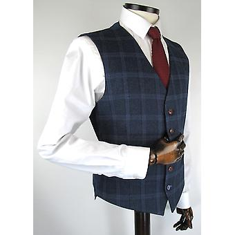 Navy With Blue Check Tweed Suit Waistcoat