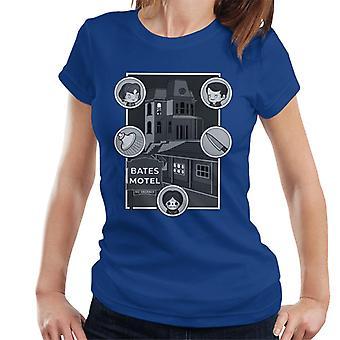 Psycho Bates Motel Kawaii Personajes Iconos Mujer's Camiseta