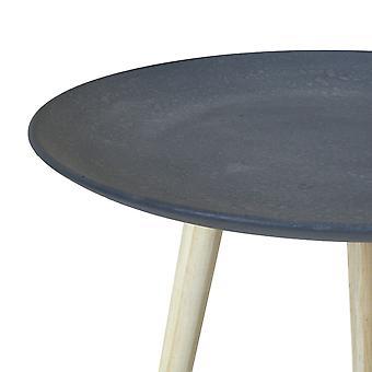 Charles Bentley Runde Beton Effekt Beistelltisch in grau mit 3 Kiefer Holz Beine Scandi Stil Kaffee Sofa Ende Nachttisch