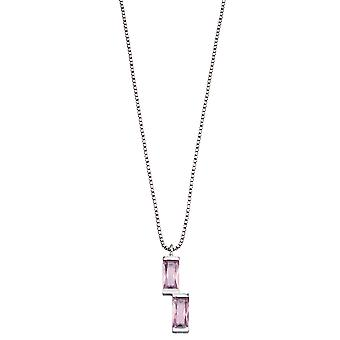 Fiorelli Silver Womens 925 Sterling Silver Baguette Blush Pink Nano Crystal Pendant Necklace of Length 41cm + 5cm