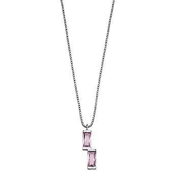Fiorelli Silver Womens 925 Sterling Silver Baguette Blush Pink Nano Crystal Hangketting van lengte 41cm + 5cm