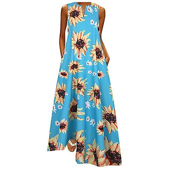 Women Sleeveless, Vintage Bohemian V Neck Maxi Dress