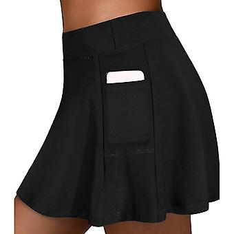 Women Running Shorts Tennis Skirts Elastic Waist Yoga Pants Inside Pockets