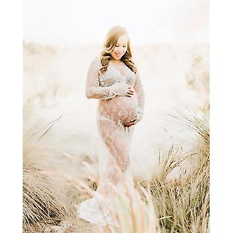 V-neck Gown Lace Maternity Maxi, Fancy Shooting Photo Pregnant Women Dresses