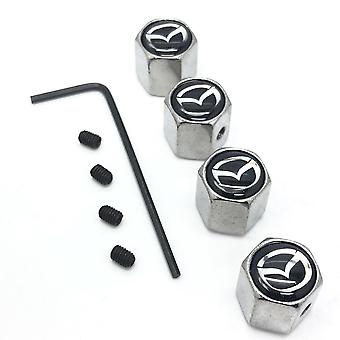 Mazda Set of 4 Chrome Anti-Theft Car Tyre Air Dust Valve Stem Cap With Allen Key