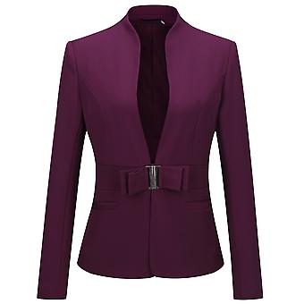 YANGFAN Women Solid Color Metal Lock Blazer
