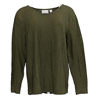 Belle by Kim Gravel Women's Sweater Waffle Knit V-Neck Green A383513