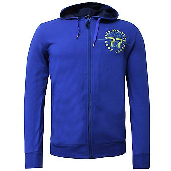 Asics Mens Graphic Hoodie Athletic Zip Up Sweatshirt Blue Jumper 131536 8107
