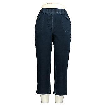 Quacker Factory Women's Pants Pull-On Straight Leg Crop Blue A306460