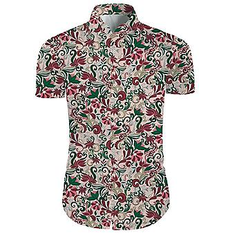 Mens 2 Pieces 3d Floral Print Casual Button Down Short Sleeve Hawaiian Shirt And Shorts Set In Light Pink