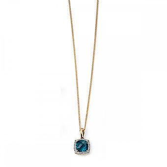 Elements Gold Elements 9ct Yellow Gold London Blue Topaz Checkerboard Pendant With Diamond GP964T