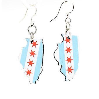 Chicago Flag Earrings #s054