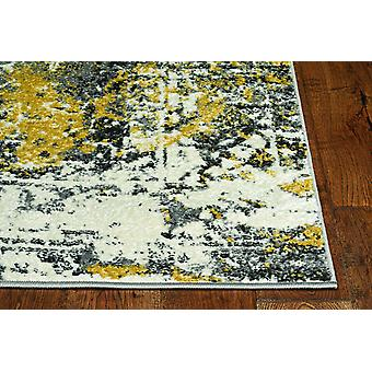 5'x8' Distressed Grey Gold Machine Woven Traditional Area Rug