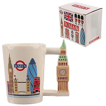 Collectable big ben shaped handle ceramic mug
