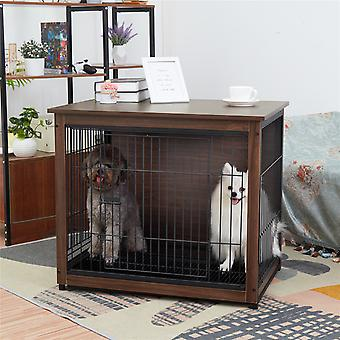Heavy Duty Wooden Dog Kennel Metal Crate Pet Cage House Tray Indoor End Table
