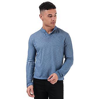 Men's Henri Lloyd Serafino Cotton Slub Long Sleeve T-Shirt en Bleu