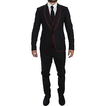 Dolce & Gabbana Gray Striped 3 Piece Slim Fit One-Button Suit Tuxedo
