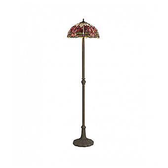 Lámpara De Pie Tiffany Clio 2 Bombillas Morado / Rosa 40 Cm
