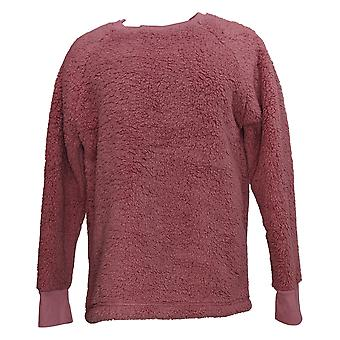 Cuddl Duds Women's Sweater Shaggy Sherpa Pullover Pink A381801