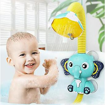 Elephant Model Faucet Douche Electric Water Spray Toy Bathroom Baby Toys Bath Toys Baby Water Game Bleu