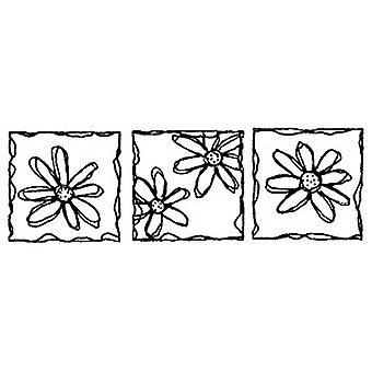 Triple Daisies Wood Mounted Stamp