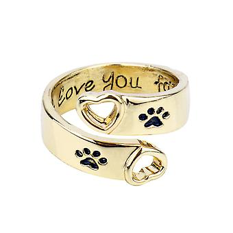 I Will Love You Forever Hollow Ring Dog Paws Alloy Finger Ring Pour une utilisation quotidienne