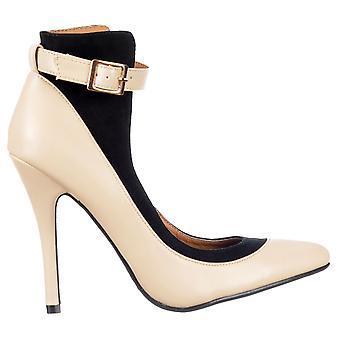 Dolcis Back Ankle Strap - Mid Heels Full Toe - Black/burgundy, Nude/black