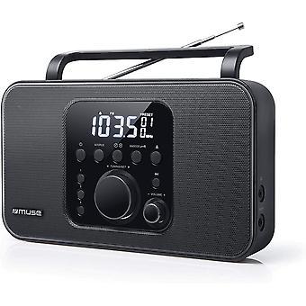 M-091 R Tragbares Radio (UKW/MW) mit Senderspeicher, Uhr- und Weckfunktion, Netz- und