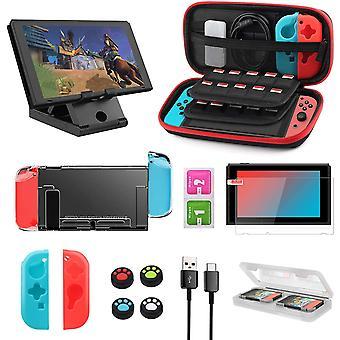 FengChun Zubehör Set für Nintendo Switch, 12-in-1 Switch Zubehör Kit Mit Tragetasche, Game Card Slot