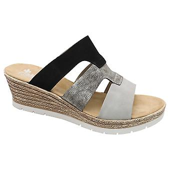 Rieker Shades Of Grey Slip Na Sandałach Klinowych