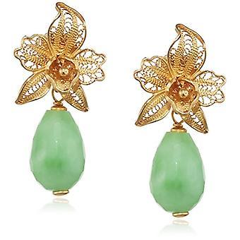 MISIS Women-EarringsMarisol Silver 925 Green Agate 3 cm - OR08623V