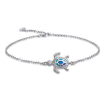 خلخال الفضة الاسترليني مع عزر السلاحف البحرية، مع العقيق الأزرق، للنساء والفتيات، قابل للتعديل إلى 4 مستويات المرجع. 0727380726251