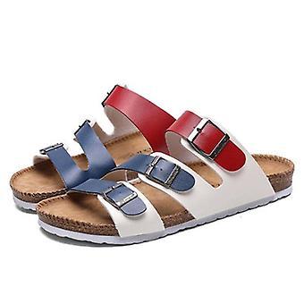 Uusi Kesä Muoti Ranta Cork Casual Soljen nahka Slip-on kengät