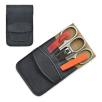 Mont Bleu 5-piece Manicure Set in Faux Leather Case - Orange