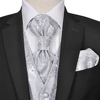 Heren Paisley Wedding Vest Set Maat 52 Zilver