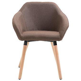 vidaXL silla de comedor tela marrón