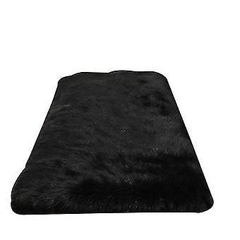 2Pcs 35cm black plush round bedroom carpet round cushion az17511