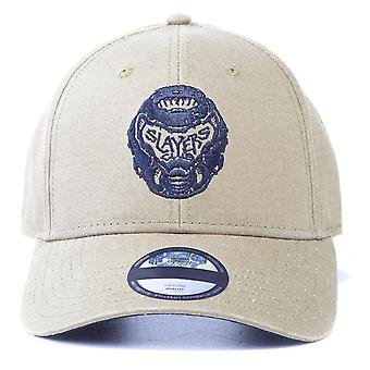 Doom - Slayers Club Logo Unisex Adjustable Curved Bill Cap - White