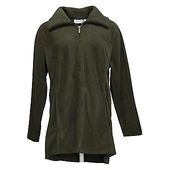 Denim & Co. Women's Fleece Zip Front Jacket w/ Hi-Low Hem Green A295714