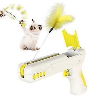 لعبة القط الأصفر انتعاش بندقية ريشة مضحك القط بندقية الحيوانات الأليفة لوازم az11544