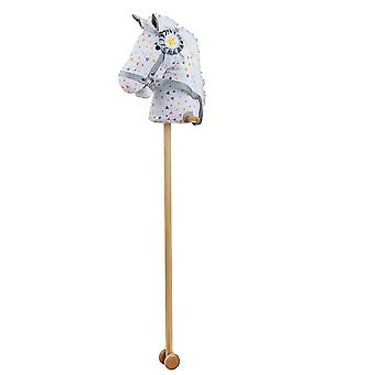 Bigjigs Toys Patterned Hobby Horse with Grip Handles and Wheels Ride On Toy