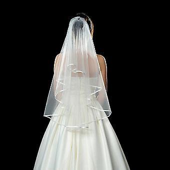 Enkel vit bröllop brud voile slöja armbågar Satin Edge slöja