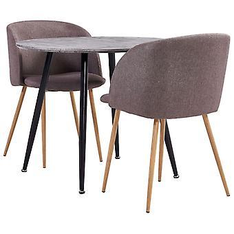 vidaXL 3 pcs. Dining group fabric Brown