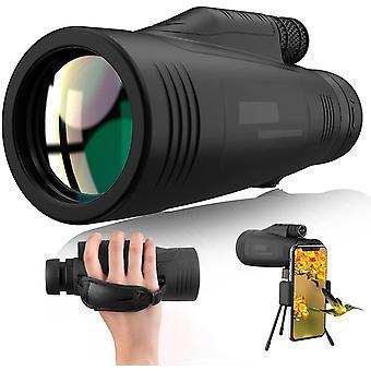 Télescope monoculaire 12X50 HD Starscope Zoom monoculaire Télescope monoculaire étanche, prisme BAK4 antibrouillard et FMC avec sangle à main, support de téléphone portable et trépied, (noir)