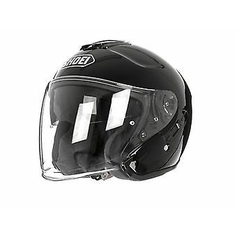 Shoei J Cruise Plain Open Face Motorcykel Hjälm Hi-Vis Reflekterande Svart