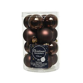 16 3.5cm marrón oscuro vidrio árbol de Navidad Bauble decoraciones