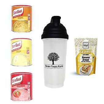 Seven Trees Farm Kit with 5 products | 1 x Caramel, 1 x Banana, 1 x Strawberry Shakes, 1 x Shaker and 1 x Banana Cake Mix, Choose to be healthy!