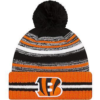 Uusi aikakausi Cincinnati Bengals NFL sideline 2021 neulottu beanie bobble hattu oranssi