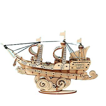 Interlocking blocks 3d wooden puzzle games boat sailing children kids girls birthday christmas gift|model building tool sets